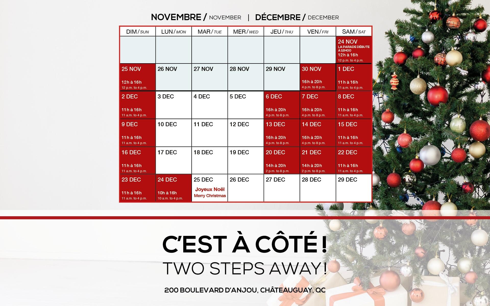 Horaire du Père Noël (Site web)
